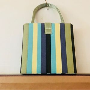 Turquoise Black Green Striped Small Bags are In